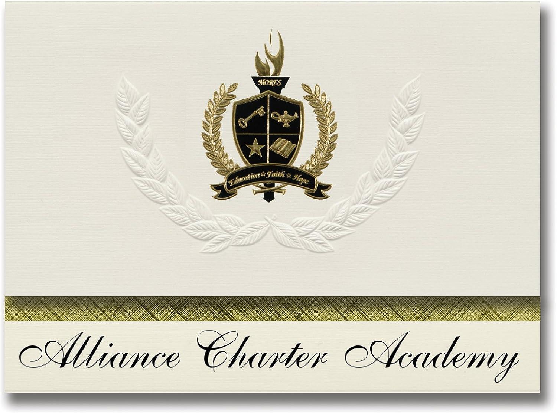 Signature Ankündigungen Allianz Charta Academy (Oregon City, oder) Graduation Ankündigungen, Presidential Stil, Elite Paket 25 Stück mit Gold & Schwarz Metallic Folie Dichtung B078VDL5VN   | Gutes Design
