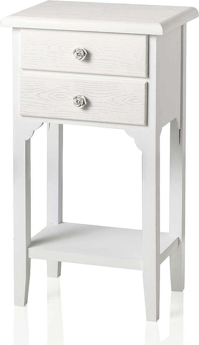 286 opinioni per Comodino in stile shabby chic bianco con due cassetti e un ripiano. Bellissimo