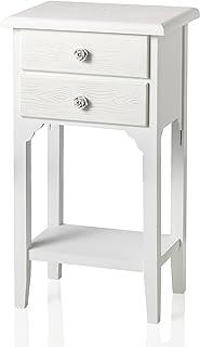 Mesilla de estilo shabby chic blanca con dos cajones y un estantePreciosa mesilla de madera DM decorada con tiradores con diseño de rosa de resina.Dimensiones:37x 26x 60cm.