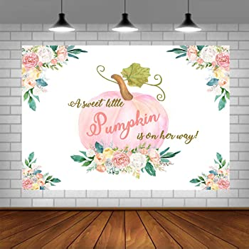 Funnytree 10x8ft Durable Fabric Pink A Little Pumpkin is on The Way Baby Shower Party Backdrop for Girl No Wrinkles Fall Floral Autumn Photography Background Dessert Decor Banner Photobooth