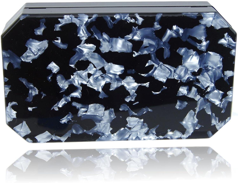 Black Silver Marble Acrylic Clutch