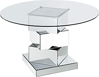 Meridian Furniture Haven Collection Modern | Contemporary Mirrored Dining Table, Round Tempred Glass Top, 50