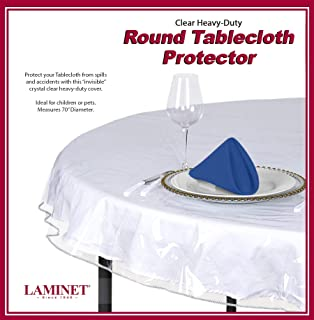LAMINET Heavy-Duty Deluxe Crystal Clear Vinyl Tablecloth Protector 70