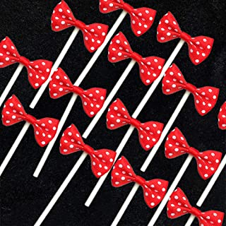 NMAS Bowknot Cupcake Topper 20 PCS Red with Dots, Children's Birthday Baby Shower Party Bow Dots Cupcake Toppers Cake Decoration Supplies