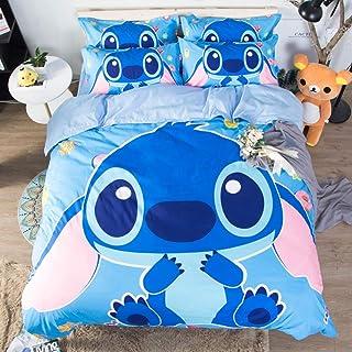EACHANN Stitch Anime Quilt Cover 3Pcs Set para niños y niñas Juegos de Cama de Dibujos