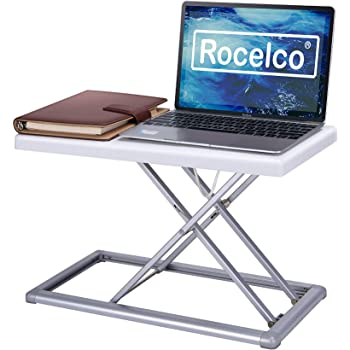 """Rocelco 19"""" Portable Riser-Height Adjustable Travel Standing Desk Converter, Premium Compact Sit Standup Laptop Rising Workstation with Carry Bag, (R PDRW), White"""