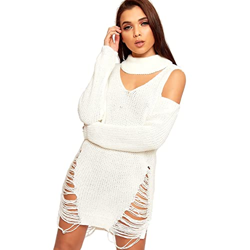 1b711ec38699b8 WearAll Women's Cable Knitted Keyhole Choker Jumper Dress Distressed Long  Sleeve Shoulder ...