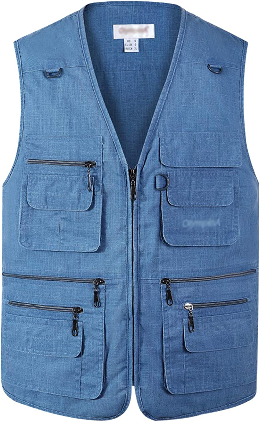 Gihuo Men's Fishing Vest Utility Shooting Safari Travel Vest with Pockets