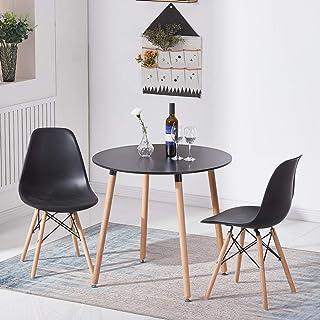 LiePu Table Salle à Manger Ronde Moderne, Table de Cuisine en Bois de Hêtre pour 2 à 4 Personnes, 80 x 80 x 73 cm, Noir