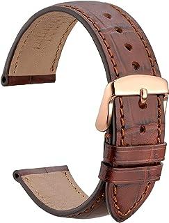 WOCCI Bracelet de Montre en Cuir Embossé Alligator avec Boucle en Acier Inoxydable, Bracelets de Rechange 18 mm 19 mm 20 m...