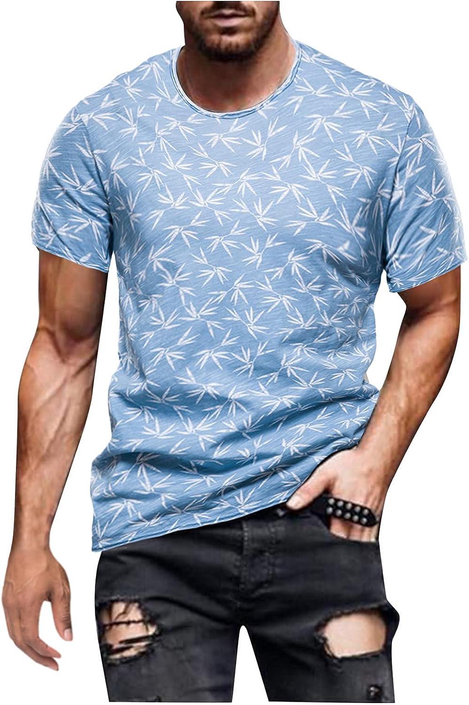 FUNEY Mens Casual T-Shirts Tie Dye Crewneck Short Sleeve Shirts Hipster Hip Hop Ripped Round Hemline Pattern Print T Shirt