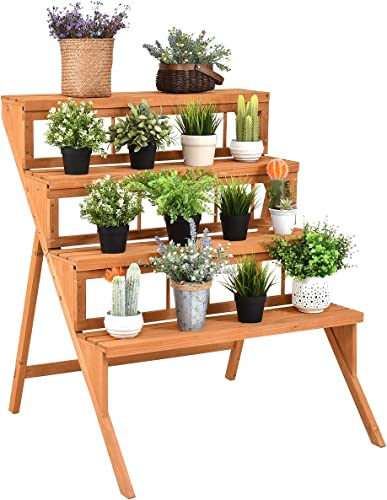 new arrival Giantex 4-Tier Plant Stand 2021 Flower Pot Holder Display Rack Stand online with Step Design, Yellow online