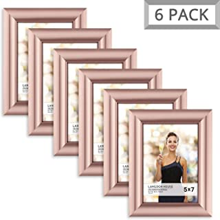 Langdon House 5x7 Picture Frame (6 Pack, Rose Gold), Rose Gold Photo Frame 5 x 7, Wall Mount or Table Top, Set of 6 Celebration Collection