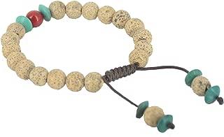 8mm Lotus Seed, Turquoise & Coral Wrist Mala, Yoga Bracelet