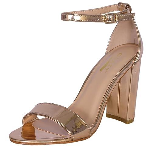 9884494fd49 Glaze Women s Strappy Block High Heel Sandal