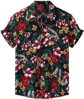ESKNAS Men's Hawaiian Shirt Funky Flowers Print Beach Shirt Button Down Short Sleeve Casual Shirt Blouse