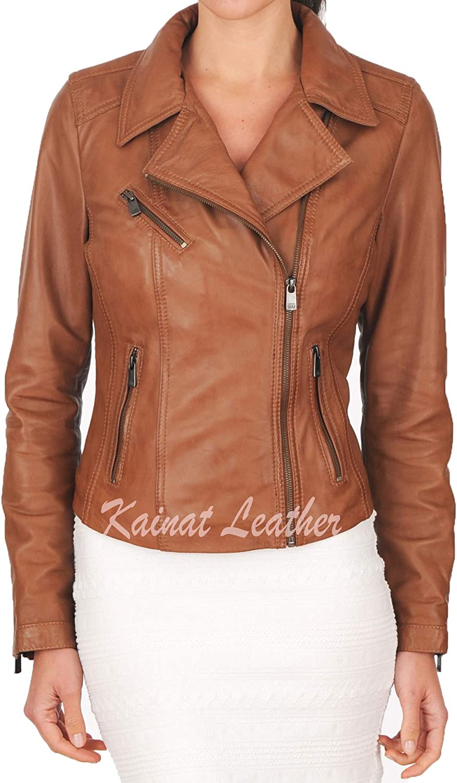 KAINAT Popular brand in the world Women's Motorcycle It is very popular Bomber Biker Jacket H Leather Lambskin