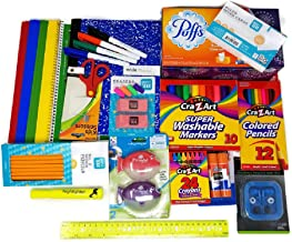 Back to School Supplies Bundle with Tissue, Markers, Pencils, Sharpeners, Crayons, Erasers, Glue Sticks, Earbuds, Paper Fo...