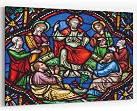 Sermon on The Mount Stained Glass Canvas Art Wall Dector-HomeDecor Stretched-Framed Ready to Hang
