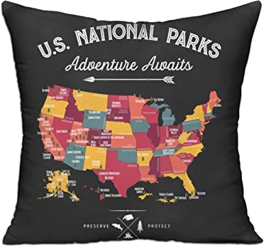 """National Park Map Throw Pillows - Include Pillow Cover and Insert, Square, 18"""" X 18"""" for Decorative Couch - DKRetro"""