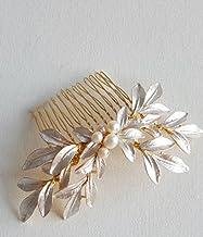 DHE07 - Accesorios para novia, diseño de flores en 3D con cuentas y hojas de color plateado y dorado pintadas a mano y perlas de agua dulce