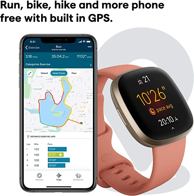 FitBit Versa 3 in pink showing map