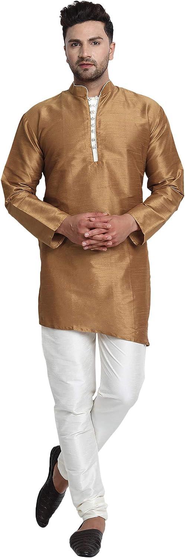 SKAVIJ Men Art Silk Cross Cut Ethnic Kurta Pajama Indian Clothing Traditional Suit Dress Set
