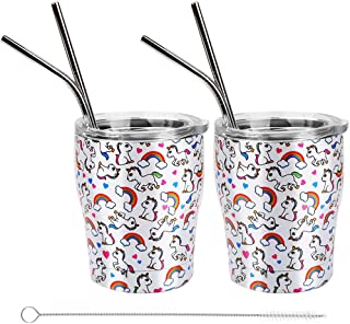 Stainless Steel Kids Cups with Lids and Straws,Vermida 2 Pack 12oz Kids Unicorn Tumblers with Lids,Unbreakable Double Wall Kids Cups with 4 Straws,Insulate Tumblers with Straws for Kids and Adults
