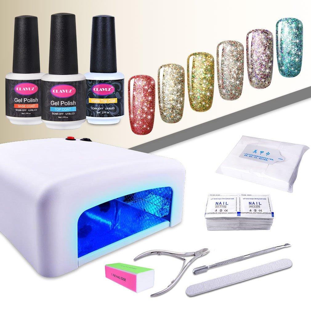 CLAVUZ 6pcs Soak Off Starry Gel Nail LED Glitter UV Polish Excellent Minneapolis Mall