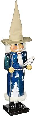 "Santa's Workshop Wizard Nutcracker, 14"" Tall, White/Blue/Tan"