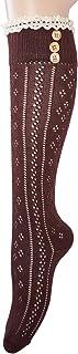 Mujeres rodilla calcetines altos con encaje de algodón y botones (1 pare Marrón)