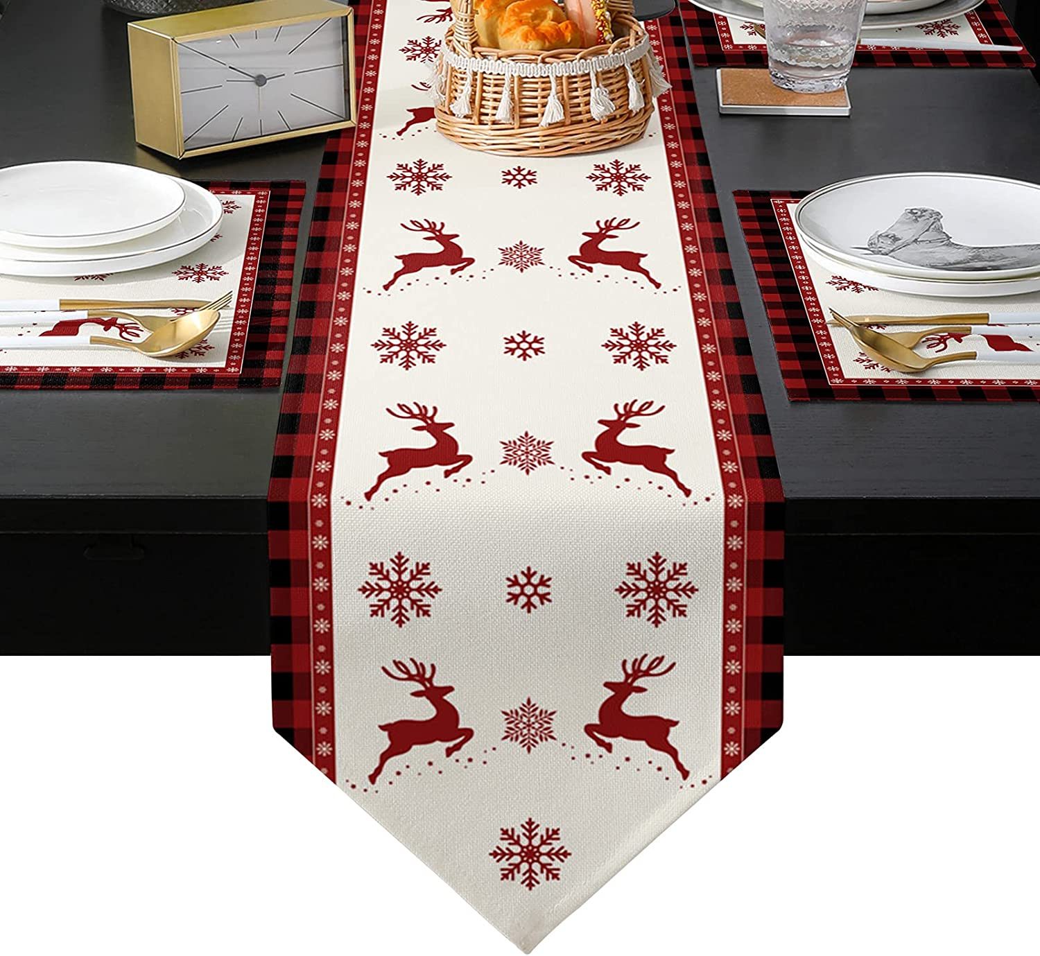 Placemats Opening service large release sale with Table Runner Sets 6 Set 90 Deer long Ch inche Elk