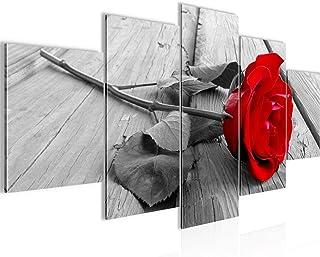 Cuadro en LienzoFlor Rosa 200 x 100 cm - XXL Impresión Material Tejido no Tejido Artística Imagen Gráfica Decoracion de Pared -5 piezas - Listo para colgar -204451a