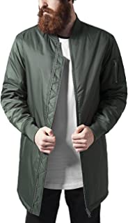 Urban Classics Men's Long Bomber Casual Flight Fitted Waist and Cuffs, Longline Jacket with Pockets and Zipper, Sizes: S-XXL