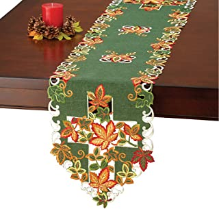 Fall Leaves Cross Embroidered Table Linens with Detailed Openwork and Scalloped Edges