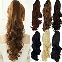 Claw Ponytail Extension Short Curly Wave 145G Thick Jaw Ponytails Pony Tail Hairpiece Clip in Hair Extensions Real Natural as Human Synthetic Fibre for Women 18 inch light brown