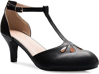 OLIVIA K Women's Kitten Low Heels T-Strap Pumps - Adorable Vintage Retro Shoes with T Strap - Unique Upper Cut Out Design