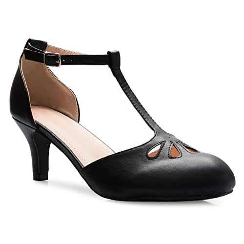 929f3f479a7 OLIVIA K Women s Kitten Low Heels T-Strap Pumps - Adorable Vintage Retro  Shoes with