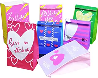 GP Kraft Party Favor Bags with Valentine Heart Design for Goodie Bags, 30 pcs. (5.2 * 3.2 * 9.6 inch)