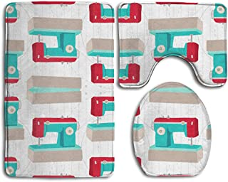 HDISJHF Non-Slip Absorbent Super Cozy Flannel Bathroom Rug Carpet Toilet Seat Cover and Rug with Retro Aqua and Red Sewing Machine Pattern