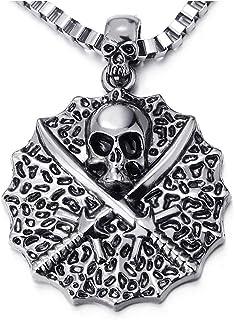 Vintage Circle Swords Pirate Skull Pendant Necklace for Men, 22.4 inches Box Chain, Gothic Biker(AU)