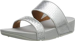 FitFlop Women's Olive Metallic Raffia Slides Sandal