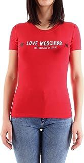 Love Moschino Stretch Cotton Jersey T-Shirt_Metallic Effect Hearts Donna