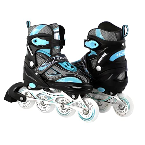 d5e21598782 Kids/Teen Adjustable Inline Skates for Girls and Boys Durable Outdoor  Roller Blades Illuminating Front