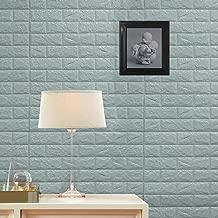 Efavormart 10 PCS 58 Sq.Ft Baby Blue Self-Adhesive Wall Panels 3D Faux Waterproof Foam Bricks Peel and Stick Foam Wall Home Decor