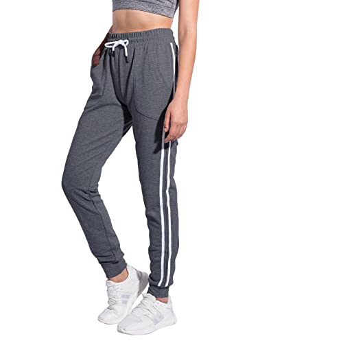 4fadab32ae46bd Women's Athletic 2-Stripe Jogger Pants Drawstring Sweatpants with Pockets