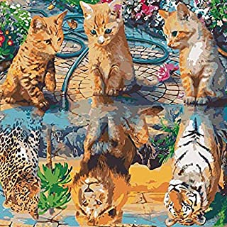 Paint By Numbers Kits , DIY Acrylic oil Painting for Kids & Adults & Beginner , Cat Kitten Dreams to Be Tiger Lion Leopard...