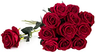 """Royal Imports Valentine Artificial Silk Roses Velvet 30"""" Long Stemmed, 1 Dozen Flowers for Bouquets, Mother`s Day, Weddings or Gift - Red"""