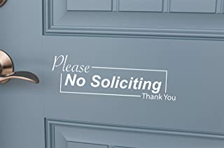 No Soliciting Sticker Vinyl Sign for Business & Home Long Lasting Indoor Outdoor use (Gloss White)