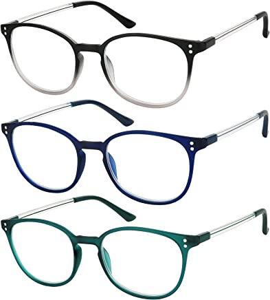 69e7f80aacb2 Reading Glasses 3 Pair Stylish Color Readers Fashion Glasses for Reading  Men   Women